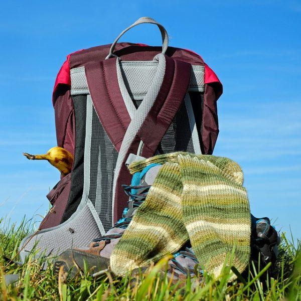 strumpor, ryggsäck